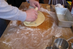 Shaping the dough.