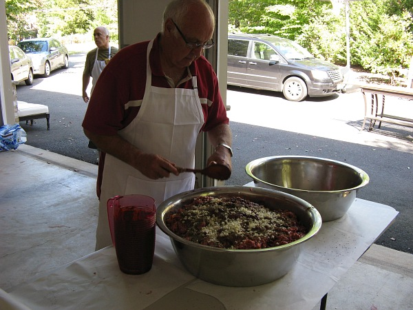 Preparing the seasoning.